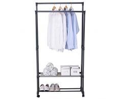 Kleiderständer Garderobenständer mit dem Ablage, Teleskop Wäscheständer auf Rollen ,ausziehbar ,83x39x161cm , Grau