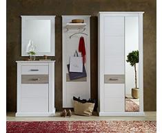 Stella Trading 3041UU84 Landhaus Garderobe Garderobenset 4-teilig, Holz, weiß, 260 x 42 x 208 cm