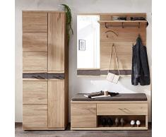 Lomadox Landhaus Garderobenmöbel Set Wildeiche massiv, mit natürlichem Baumkantenprofil, montierte Möbel