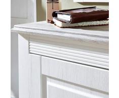 Lomadox Landhaus Garderobenset mit Kleiderschrank Schuhbank inkl. Polster und Gardetobenpaneel weiß