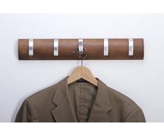 Garderobe Hakenleiste Garderobenleiste Kleiderhaken Klappgarderobe Holz / Metall Walnuss / matt chrom mit 5 Klapphaken 503 x 86 x 31mm