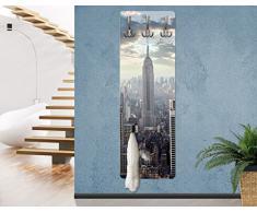 Apalis 75141 Wandgarderobe Sonnenaufgang in New York | Design Garderobe Garderobenpaneel Kleiderhaken Flurgarderobe Hakenleiste Holz Standgarderobe Hängegarderobe | 139x46cm