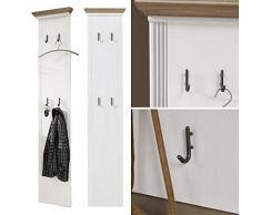 Lomadox Landhaus Garderoben Set mit 2 Paneelen in Pinie weiß mit Artisan Eiche