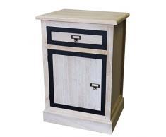 Kommode mit Schublade 65x43x33cm Schubladenschrank Nachtschrank Holz Natur Holzschrank Nachttisch Badezimmerschrank Flurschrank Dielenkommode kleiner Schrank