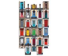 Artland Wandgarderobe Holz Design mit 8 Haken Garderobe Paneel mit Motiv 63x114 cm Kunst Collage Abstrakt Städte Türen Haustüren bunt T9FG