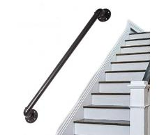 LIUSU-Stair handrail 1 Wand-Treppengeländer Geländer Handlauf Für Innentreppen Heimtextilien Anti-Rutsch-Geländer Schwarz Schmiedeeisen Garderobe(50-150cm)
