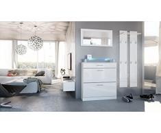 Garderobenset Garderobe Loret Mini in Weiß / Weiß Hochglanz