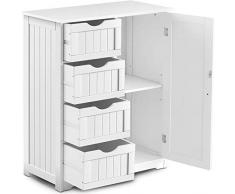 BFDMY Kommode mit Schubladen, Sideboard Weiß, Highboard aus Holz, Badezimmerschrank Dielenkommode, Standschrank Mehrzweckschrank