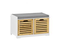 SoBuy® moderne Schuhtruhe,Sitzkommode mit 2 Körben,Sitzbank, Schuhschrank mit Sitzkissen,Spieltruhe, FSR23-K-WN