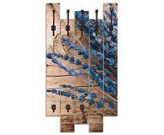 Artland Wandgarderobe Holz Design mit 8 Haken Garderobe Paneel mit Motiv 63x114 cm Landhaus Natur Blumen Blüten Lavendel Holzoptik T9QJ