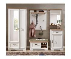 Lomadox Landhaus Garderobenmöbel Set in Pinie weiß mit Artisan Eiche - Breite: 281cm