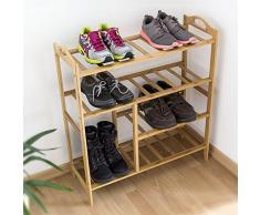 Relaxdays Bambus Schuhregal H x B x T: ca. 56 x 68,5 x 26 cm Schuhschrank mit praktischem Stiefelfach und 4 Ablagen für Ihre Schuhpaare zur Schuhaufbewahrung aus Holz als stabiles Regal, natur