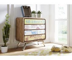 FineBuy Sideboard KAIA 85x88x38 cm Landhaus-Stil Sheesham Massivholz/Metall | Design Kommode Holz Bunt | Dielenkommode Standschrank Klein | Anrichte Schlafzimmer Massiv | Schubladenkommode Flur