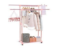 Inmorven Schwerlast Metall Kleiderständer auf Rollen,Industriedesign Kleiderwagen,mobiler Garderobenständer mit 2 Kleiderstangen bis 110 kg belastbar Ausziehbar Rose