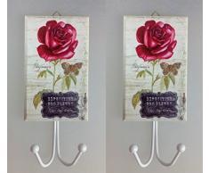 2 Stück Kleiderhaken rote Rose XXL Holz Metall Garderobe Haken Huthaken Mantelhaken Wandhaken Landhaus Antik Design