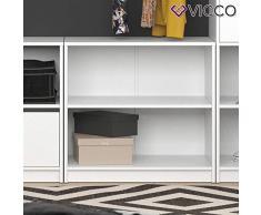 Vicco Kleiderschrank Visit Weiß Dielenschrank Flurgarderobe - Offen begehbar Kleiderständer Garderobe Diele Flur Nische Garderobenständer (Kommode zweigeteilt)