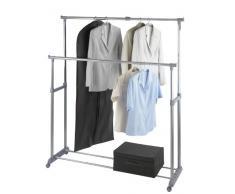 WENKO 4364500100 Kleiderständer Twin Bars - 2 Kleiderstangen,1 Ablage, höhenverstellbar, 4 Rollen, verchromtes Metall, 95-163 x 98-168 x 44 cm, Chrom