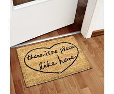 Relaxdays Fußmatte Kokos NO PLACE LIKE HOME 40 x 60cm Kokosmatte mit rutschfestem PVC Boden Fußabtreter aus Kokosfaser als Schmutzfangmatte und Sauberlaufmatte Fußabstreifer für Außen und Innen, braun