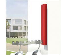 Klapphaken Garderobe Luxor Rot - 4er-Set - für Balkon, Terasse und Wohnbereiche - platzsparend, modern, stabil, Klapp-Haken aus Edelstahl, Gehäuse Aluminium pulverbeschichtet