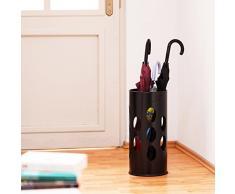 Relaxdays Regenschirmständer rund HBT 49,5 x 22,5 x 22,5 cm Metall Schirmständer mit Wasserauffangschale für Regenschirm, Gehstock oder Nordic Walking Stöcke aus Stahl mit schöner Ornamentik, schwarz