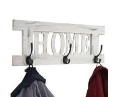 Mendler Wandgarderobe HWC-C60 Home, Garderobe Garderobenpaneel, Shabby-Look Vintage 55x21cm ~ weiß, Shabby