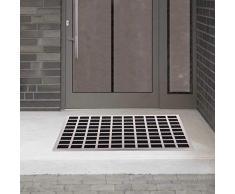 GOODS+GADGETS Fußmatte aus gebürstetem Edelstahl mit Gummieinlagen Eingangsmatte Fußabtreter 60x40cm