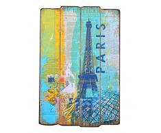 ts-ideen Wandgarderobe Flurgarderobe Paris Hakenleiste Kleiderhaken Wandpaneel Holz 60 x 40 cm Wandhaken Shabby Vintage Landhaus Stil