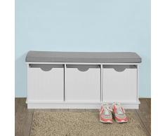 SoBuy® FSR30-W Spielzeugkiste Spieltruhe Garderobenbank Sitzkommode mit 3 Körben Sitzbank mit Sitzfläche BHT ca: 100x46x36cm