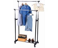 Kleiderständer mit 2 höhenverstellbaren Kleiderstangen und Schuhablage - Kleiderwagen mit Rollen