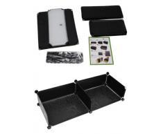 Schuhschrank Kinderregal Bad Flur Steck Regal Standregal Schuhregal Sideboard in Schwarz mit weißen Türen
