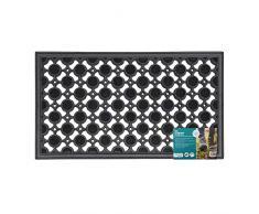 JVL Robuster Gummi Ellipse Design Kreise Boden Fußmatte, schwarz, 40 x 70 cm