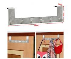 Yahee365 Türgarderobe Türhängeleiste Türhakenleiste Garderobenleiste Kleiderhaken Handtuchhaken Handtuchhalter mit 6 Haken aus Edelstahl rostfrei : 39cm x11cm x 5cm
