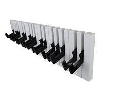 GMMH Design Wandgarderobe Kleiderhaken Hakenleiste 16 Haken Klavier Garderobe Piano (schwarz-weiß)