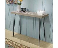Tidyard Retro Konsolentisch MDF+Stahl, Beistelltisch Konsole Konsolentische Telefontisch Sideboard Highboard Flurtisch für Eingang, Wohnzimmer und Flur, 90x30x71,5 cm