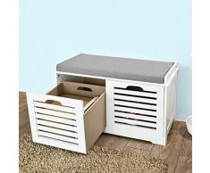 SoBuy FSR23-K-W Moderne Schuhtruhe Sitzkommode mit 2 Körben Sitzbank Schuhschrank mit Sitzkissen Spieltruhe