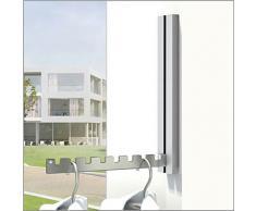 Klapphaken Luxor Grau - 4er-Set - für Balkon, Terasse und Wohnbereiche - platzsparend, modern, stabil, Klapp-Haken aus Edelstahl, Gehäuse Aluminium pulverbeschichtet