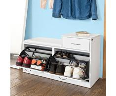SoBuy Schuhbank,Sitzbank,Schuhregal, Schuhschrank, Schuhtruhe,mit Zwei Schuhfächern und Einer Schublade, weiß, FSR17-W