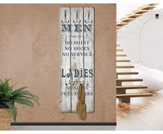 mantiburi Design Garderobe MDF Holz No.RS181 Men and Ladies Wand Haken Leiste Flur Diele Schrift
