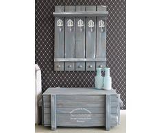 dekorie67 Holz Garderobe im Landhaus Stil schweden blau Vintage Shabby fertig montiert