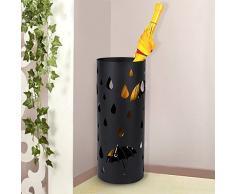 SONGMICS Regenschirmständer aus Metall, runder Schirmständer, Wasserauffangschale herausnehmbar, mit Haken, 49 x Ø 19,5 cm, schwarz LUC23B