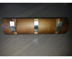 B-WARE Garderobe Hakenleiste Garderobenleiste Kleiderhaken Klappgarderobe Holz / Metall Walnuss / matt chrom mit 3 Klapphaken 300 x 86 x 31mm