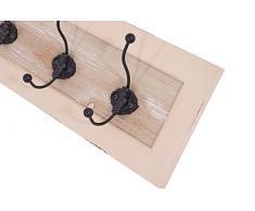Garderobe Provence Landhaus Stil 5 Kleiderhaken Holz Vintage Look creme weiß