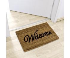 Relaxdays Fußmatte Kokos Motiv WELCOME 40 x 60 cm Kokosmatte mit rutschfester PVC Unterlage Fußabtreter aus Kokosfaser als Schmutzfangmatte und Sauberlaufmatte Fußabstreifer für Außen und Innen, braun