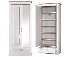 Flur Garderoben Möbel Set mit Kleiderschrank Dielenschrank Garderobenpaneel im Landhaus Look