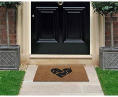 Premium kokos Fußmatte   Kokosnussmatte mit rutschfestem PVC   Fußwischer für den Eingangsbereich   für den Außen- und Innenbereich   45 x 75 cm   Puppy Love