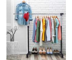 DREAMADE Kleiderwagen auf Rollen Kleiderständer, Garderobenwagen Garderobenständer Metall, Kleiderwagen höhenverstellbar Kleiderständer mit Ablage