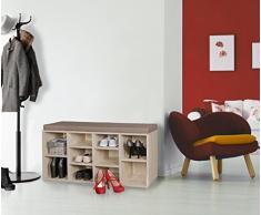 FineBuy Schuhbank Sonoma Eiche 10 Paar Schuhe & Stiefel 103,5 x 53 x 30 cm  Schuhschrank mit Sitzbank & Sitzkissen abnehmbar   Flur Schuhregal mit Bank   Kleine Holz Kommode Garderobe Aufbewahrung