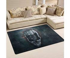 yibaihe leicht bedruckt Bereich Teppich Teppich Fußmatte Deko 3D Metall Skull mit USA Flagge wasserabweisend leicht zu reinigen für Wohnzimmer Schlafzimmer 153 x 100 cm