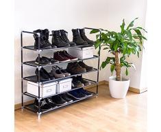 Relaxdays Schuhregal mit 5 Ablagen, Schuhablage für 20 Paar Schuhe, erweiterbar, HxBxT: 90,5 x 87 x 29,5 cm, schwarz
