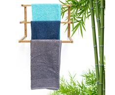 Relaxdays Wandhandtuchhalter Bambus mit 3 Handtuchstangen HBT 38 x 44 x 20 cm Handtuchhalter zur Wandmontage als Wandgarderobe oder Kleiderstange im Bad als Alternative zum Herrendiener, natur